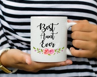 Best Aunt Ever Floral Coffee Mug Cup Gift