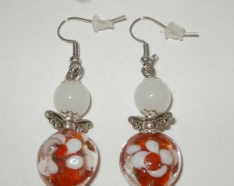 RED WHITE GLASS PEARL EARRINGS