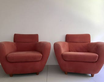 Pair of French Linge Roset Club Chairs