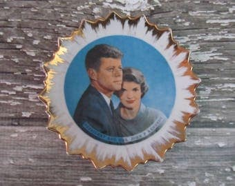 Vintage President John F and Mrs. Kennedy Small Decorative Plate by Arrow