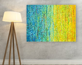 Blue & Canvas Picture - Light Blue and Sunshine Yellow Canvas Print - Abstract Print on Canvas based on Original Painting by Louise Mead