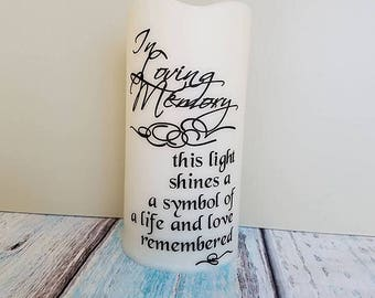 LED lights - wedding memorial candle - custom pillar candle - sympathy gift - wedding Memory candle - In Loving Memory - Flameless candles