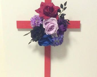 Cemetery Cross, Cemetery Flowers, Grave Marker, Grave Decoration, Memorial Cross,