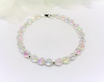 Clear Crystal Bracelet Bridesmaid Bracelet Bridal Bracelet Wedding Jewelry Clear AB Crystal Bracelet Sterling Silver BuyAny3+1Free