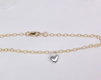 Solid Gold Baby Bracelet 14kt Gold Toddler Bracelet 14k Gold Chain Bracelet Silver Heart Bracelet Girls Christmas Gift BuyAny3+Get1 Free