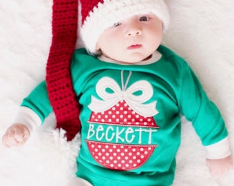 Monogrammed Christmas ornament name pajamas. Xmas pjs with name. Baby, Toddler, Kid Christmas photos. Children's personalized pjs.