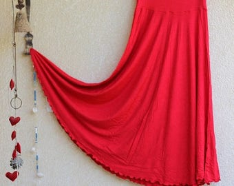 ON SALE Long Jersey Skirt - Red Maxi skirt - Regular, Plus size - Pregnancy Maternity wear - Tall - Half circle skirt