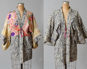 Vintage Kimono Indigo and Floral Silk Japanese Blue and Pink Traditional Short Kimono Jacket