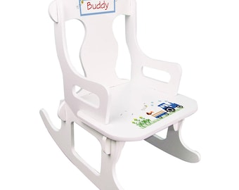 Personalized White Puzzle Rocking Chair with Blue Tractor Design-puzz-whi-211c
