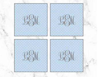 Blue Polka Dot Monogram Cupcake Toppers. Digital Print. Boy Baby Shower. Blue Birthday Decor. Polka Dot Party Decor. Blue and Gray Shower