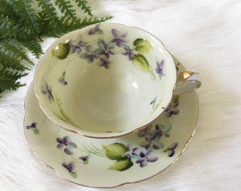 Vintage Violets China Tea Cup and Saucer /  Hadson Made in Japan / 2 Available