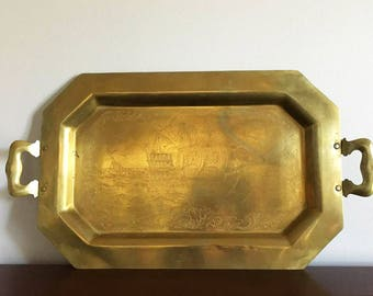 Brass Tray with Engraved Ship / Long Octagon Serving Tray / Old World Nautical