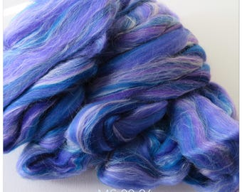 Purple Blend Merino Wool  & Silk Fleece Roving for Felting or Spinning Australian Fleece MS 00/26