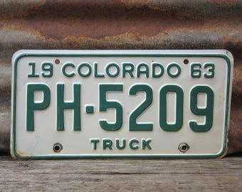 Vintage Colorado License Plate 1963 Vintage 5209 Truck Green White Aged Car Auto Hot Rod Old Metal License Plate Tag Altered Art Supply Sign
