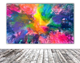 """ORIGINAL ABSTRACT ART - 20x12"""" - Fusion 9, Unique Original Fluid Abstract Painting Fine Art One of a Kind, Gift Wall Decor"""