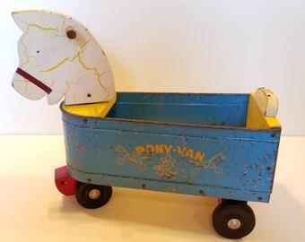Vintage Pony Van Wood Pull Toy