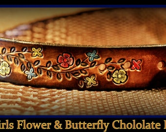 Back to school, Personalized little girl's leather belt. Infant, to Size 12, FLOWERS & BUTTERFLIES chocolate brown What fun! With buckle Wow