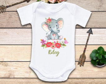 Elephant Name Onesie®, Elephant Onesie, Elephant Girl Onesie, Little Peanut Onesie, Personalized Onesie, Baby Girl Onesie, Baby Shower Gift