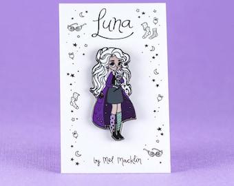 Luna Lovegood Hard Enamel Lapel Pin // Navy Violet Colourway // Wearable Art, Jewelery, Harry Potter, Witch, Fairytale, Stars, Girl