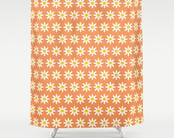 2 Colour Options, Daisy Flowers Shower Curtain, Tangerine Daisies Pattern, Abstract geometric shower curtains, flower pattern bathroom decor