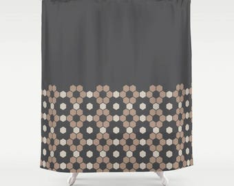 Modern Rustic, Hexagon Honeycomb Half Pattern Shower Curtain, Charcoal black, Oyster beige, minimalist geometric, bathroom shower curtain