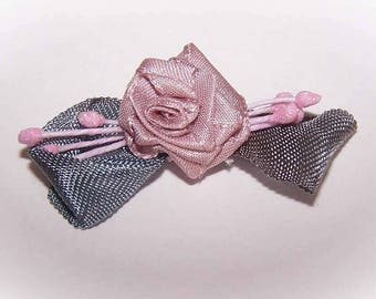 Handmade,French Ribbonwork,Ribbon Flower,Taupe,Rayon,Silver Grey,Floral Embellishment,Floral Applique,Sugar Pips