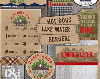 Camping Water Bottle Labels | Camp Water Bottle Labels  | Water Canteen Label | Camping Birthday | Camping Party Decorations | Printable
