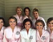 SALE Monogram Bridesmaids Robes, Blush Satin Robes-Getting Ready Robes, Monogrammed Wedding Day Bridal Party Bride Robes, Satin Kimono Robe