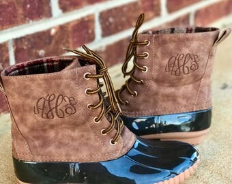 SALE Monogram Duck Boots-Monogrammmed Duck Boots-Monogram Leather Boots-Monogram Plaid Duck Boots