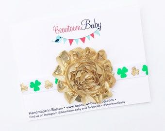 St. Patrick's Day Baby Girl, St. Patrick's Day Baby Headband. Shamrock Headband.  St. Patty's Day Headband. St. Patrick's Day Baby Outfit.