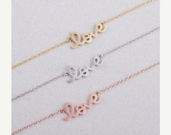 60% OFF Sale Silver Love Necklace, Love Script Necklace, Cursive Writing Love Necklace, Letter Love Necklace, Wedding, Bridesmaid Gift, Gift