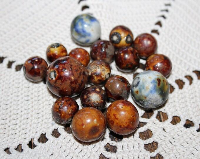 Antique Marbles 17 Brown & Fancy Bennington Pottery 1800s