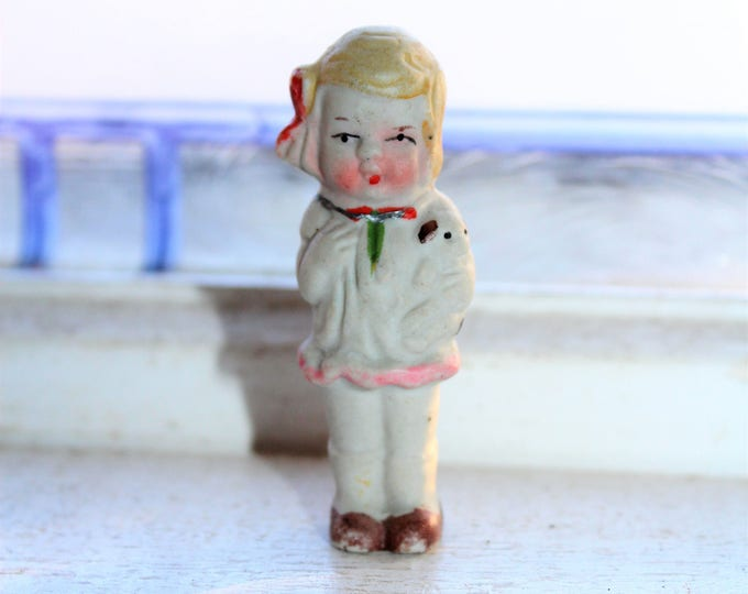 Vintage Bisque Doll Frozen Charlotte Girl Holding a Puppy