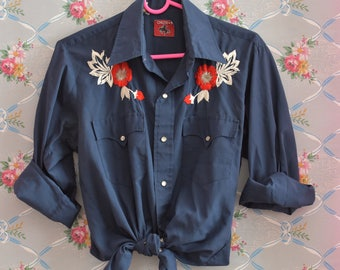 Western Button Up Blouse with Embroidered Floral Roses in Navy Blue - Red White Blue - Size Medium
