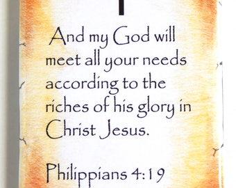 Philippians 4:19 Bible Verse Fridge Magnet (2 x 3 inches)
