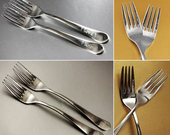 Wedding Fork Tines, (prongs) Engraved on Stainless Steel, set of 2. Also fork handle and face engraving options