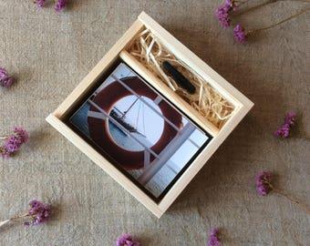 "5 x wooden photo box / 4"" x 6"" prints box / 10 x 15 cm prints box / box for photos and usb flash drive / wedding photo box"