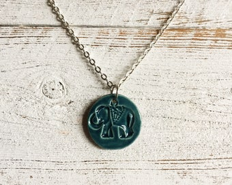 Ceramic Elephant Pendant, Dark Teal, Zen, Elephants, Ceramics, Unique Gift, Gift Ideas, Eephant Jewelry, Boho, Ceramic Jewelry