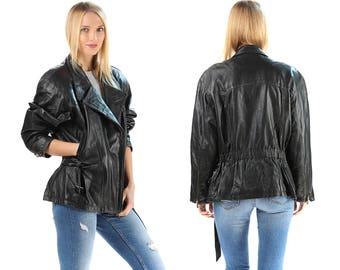 Retro Leather Moto Jacket Vintage 80s Biker Black Coat Distressed Well Worn Faded Motorcycle Women Hipster Oversize Medium to Large