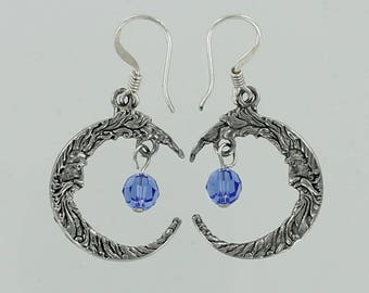 CRESCENT MOON Earrings - Pewter and Blue Sapphire Color Swarovski Crystal Dangles