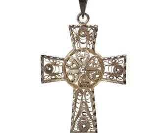 Vintage Silver Filigree Cross Pendant // Domed 3-Dimension Silver Scrollwork Charm // Christian Religious Icon