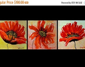 "ON SALE Poppies Painting Wall Art Original Gallery Canvas Painting Textured Landscape Palette Knife,Fall Colors16""x48"" on gallery canvas"