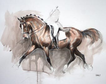 Original horse art equine art energy and movement equine horse ink sketch movement art drawing 'Sketch II' by H Irvine