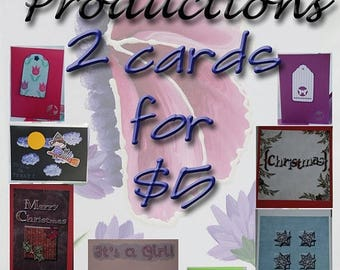 SALE Two Cards for Five Dollars SALE