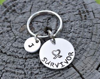 Breast cancer survivor keychain, survivor keychain, gift to cancer survivor, personalized breast cancer keychain,