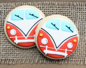Bus Sugar Cookies / Hippie Bus Sugar Cookies / Hippie Van / Hippie Bus Favors / 70's Party Favors /  VW Bus Sugar Cookies - 12 cookies