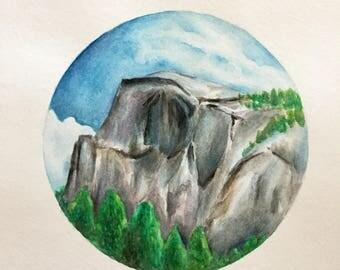 Yosemite Half Dome Watercolor Painting [ORIGINAL]