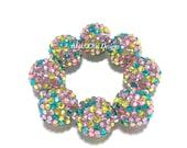 Baby, Toddler, Girls, Ladies All Bling Spring Chunky bracelet - Confetti bracelet - Yellow, Pink, Lavender and Turquoise Bracelet - Spring