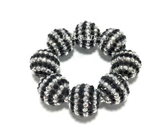 Baby, Toddler, Girls, Teen, Ladies All Bling Black and Silver Sparkle Chunky bracelet - Christmas Silver Chunky Bracelet - Birthday Bracelet