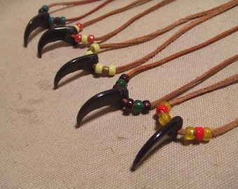 Bear claw glass bead leather necklace native american style 5 necklaces